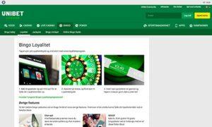 Unibet Bingo præsenterer en fin hjemmeside